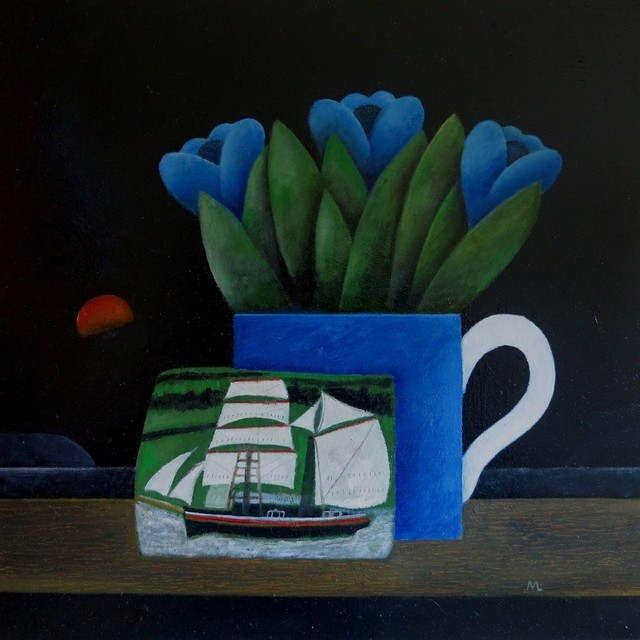 Blue Jug & Sailing Ship